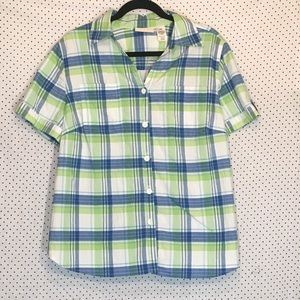 Alfred Dunner 16W Shirt Top Plaid Button Down